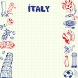 Simboli Pen Drawn Doodles Vector Collection dell'Italia Immagine Stock Libera da Diritti