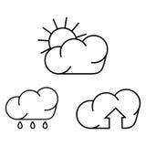 Simboli per pioggia ed il sole Fotografie Stock Libere da Diritti