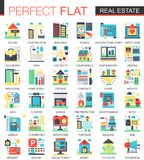 Simboli piani complessi di concetto dell'icona di vettore del bene immobile per progettazione infographic di web illustrazione vettoriale