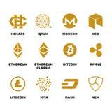 Simboli popolari di vettore del blockchain del bitcoin di cryptocurrency Illustrazione Vettoriale