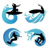 Simboli praticanti il surfing Immagini Stock