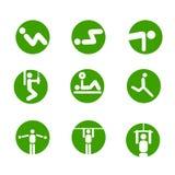 Simboli relativi alla ginnastica di vettore di esercitazioni Immagini Stock