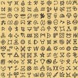 Simboli rituali e schermo di arte digitale senza cuciture del modello che stampano fondo illustrazione vettoriale