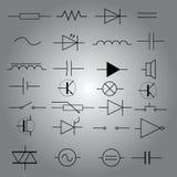 Simboli schematici nell'icona eps10 stabilito di elettrotecnico Illustrazione di Stock