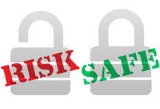 Simboli SICURI della serratura di obbligazione di protezione di RISCHIO Immagine Stock Libera da Diritti