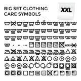Simboli stabiliti di cura dell'abbigliamento dell'illustrazione di vettore Immagini Stock