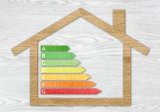 Simboli strutturati di legno di certificazione di rendimento energetico Fotografia Stock