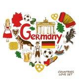 Simboli tedeschi nel concetto di forma del cuore Fotografia Stock
