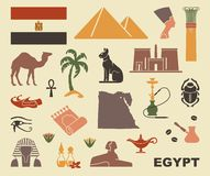 Simboli tradizionali dell'Egitto illustrazione di stock