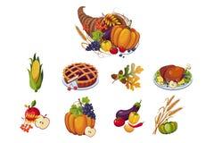 Simboli tradizionali dell'insieme di giorno di ringraziamento, cornucopia di autunno con l'illustrazione di vettore delle verdure royalty illustrazione gratis