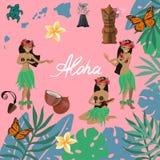 Simboli tradizionali dell'insieme hawaiano della cultura, fiore dell'ibisco, ragazze che ballano hula e che giocano le ukulele, i illustrazione di stock