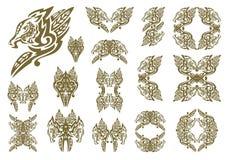 Simboli tribali del drago nella forma di foglie Fotografia Stock Libera da Diritti
