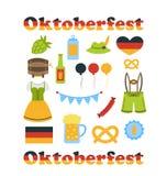 Simboli variopinti di Oktoberfest isolati Fotografia Stock