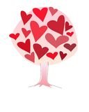 Simbolic love tree made of pink and red hearts different sizes Royalty Free Stock Photography