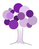 Simbolic violet abstract tree made of cirqles diferent sizes Stock Photo