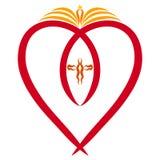 Simbolismo cristiano, un corazón con un pescado simbólico, un libro abierto con la vela y una cruz ilustración del vector