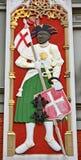 Simbolismo da casa das pústulas O St Maurícias sua cabeça do preto do símbolo- estava na brasão da fraternidade imagens de stock royalty free