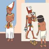 Simbolismo di arte egiziana antica, fumetto divertente immagini stock