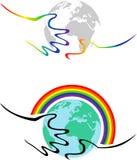 Simbolismo gaio - le mani tengono la terra royalty illustrazione gratis