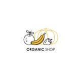 Simbolizzi il modello di progettazione nella linea stile dell'icona per i prodotti biologici - frutta e simboli delle verdure Fotografia Stock