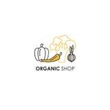 Simbolizzi il modello di progettazione nella linea stile dell'icona per i prodotti biologici - simboli delle verdure in due color Fotografia Stock