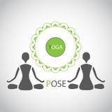 Simbolizzi le figure della siluetta di posizione del loto di yoga della gente Fotografia Stock