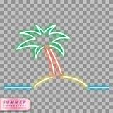 Simbolo al neon della palma Immagini Stock Libere da Diritti