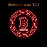 Simbolo al neon rosso di cryptocurrency di interesse BCI di Bitcoin illustrazione di stock