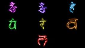 Simbolo alla moda bruciante di chakras nello spazio, rappresentazione 3d Fotografie Stock Libere da Diritti