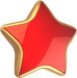 Simbolo alla moda di successo della stella rossa lucida Fotografia Stock Libera da Diritti