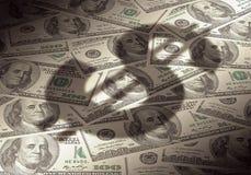Simbolo americano del dollaro sulla priorità bassa dei soldi Immagine Stock Libera da Diritti