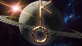 Simbolo animato e pianeta dell'oroscopo dello zodiaco del chiron 3D che rende 4k illustrazione di stock