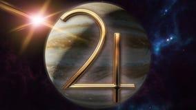 Simbolo animato e pianeta dell'oroscopo dello zodiaco di Giove 3D che rende 4k illustrazione di stock