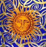 Simbolo artistico del sole Fotografie Stock Libere da Diritti