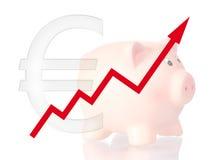 Simbolo ascendente e porcellino salvadanaio del diagramma euro Fotografie Stock