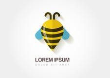 Simbolo astratto dell'ape Waypoint stilizzato Templat dell'icona di logo di vettore Fotografie Stock Libere da Diritti