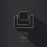 Simbolo astratto della sedia - progettazione creativa di logo della mobilia Immagine Stock