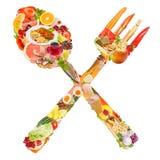 Simbolo attraversato del cucchiaio e della forchetta Immagine Stock