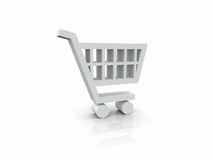 simbolo bianco del carrello 3D Fotografie Stock Libere da Diritti