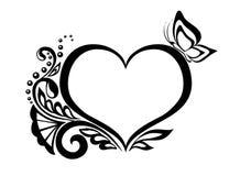 Simbolo in bianco e nero di un cuore con il desi floreale Fotografia Stock Libera da Diritti