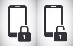 Simbolo bloccato e sbloccato dell'icona di vettore di sicurezza della compressa dello smartphone illustrazione vettoriale