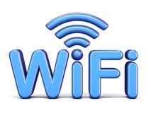 Simbolo blu 3D di WiFi Fotografia Stock Libera da Diritti