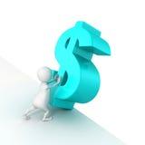 simbolo blu del dollaro di spinta dell'uomo 3d da cadere Fotografia Stock