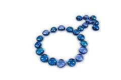 Simbolo blu del maschio dei branelli di vetro Immagine Stock Libera da Diritti