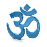 Simbolo blu del OM o di Aum Immagine Stock