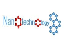 Simbolo blu di nanotecnologia con la molecola isolata royalty illustrazione gratis