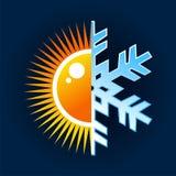 Simbolo caldo e freddo di temperatura Fotografia Stock
