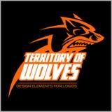 Simbolo capo del lupo Grande per l'icona Logo Design del segno dell'etichetta del distintivo Fotografia Stock Libera da Diritti
