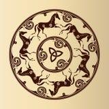 Simbolo celtico dei cavalli Fotografie Stock Libere da Diritti
