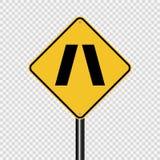 Simbolo che si avvicina al segno stretto del ponte su fondo trasparente illustrazione di stock